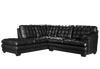 70260 - Black Leather Aire Sectional With Right or Left Facing Chaise