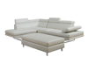 9782 - Leatherette Sectional with Ottoman  - White - Right or Left Chaise