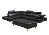 9782 - Leatherette Sectional with Ottoman  - Black - Right or Left Chaise