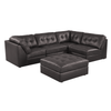 9377 - Leather Aire sectional with Ottoman - Brown