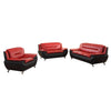 Polaris - Sofa Set Faux Leather - Red and Black