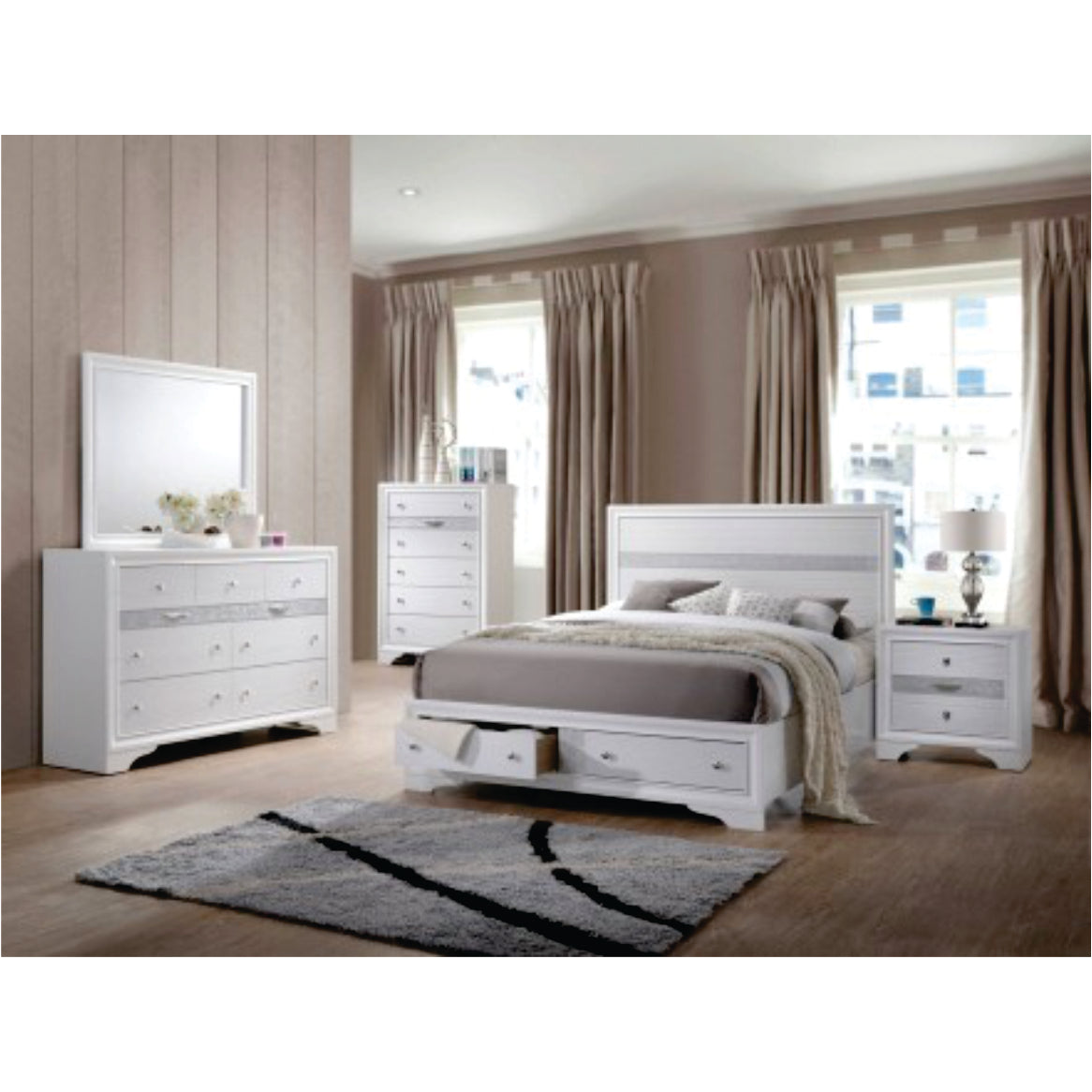 Naima White 5 Piece Bedroom Set Available In King And Queen Furniture 4 Less Canada