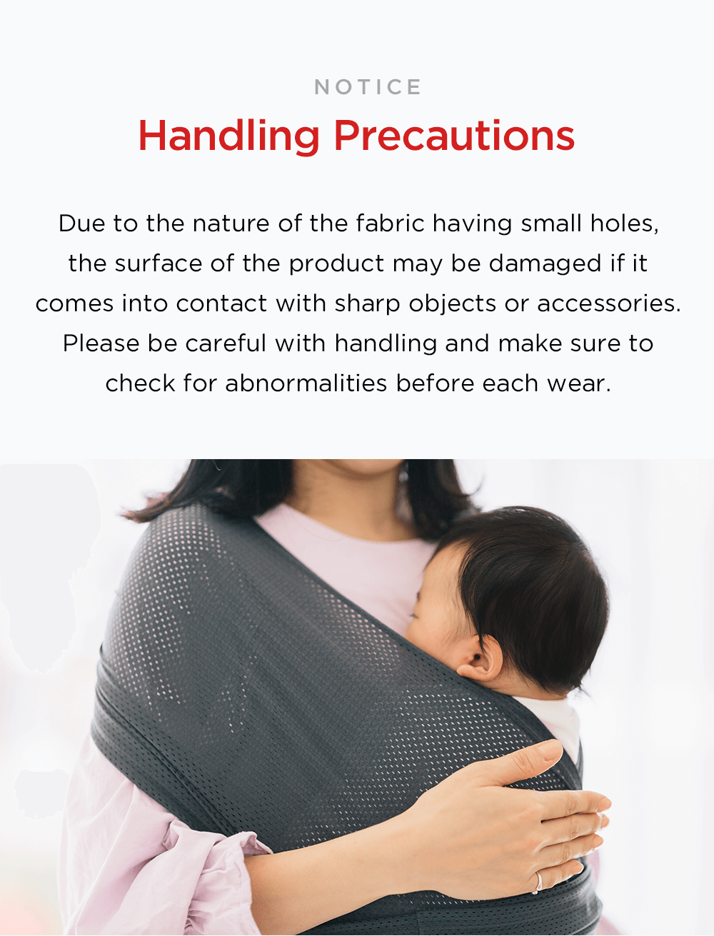 Konny Baby Carrier SUMMER The perfect solution to survive hot and humid weather Cool Lightweight Stylish UV Cut Antibacterial Fabric Moisture Wicking Cooling Fabric Breathable Fabric Ultra-lightweight Konny exclusively developed Cool Span Air Mesh its proprietary special air mesh fabric for a summer baby wrap sling newborn infant toddler