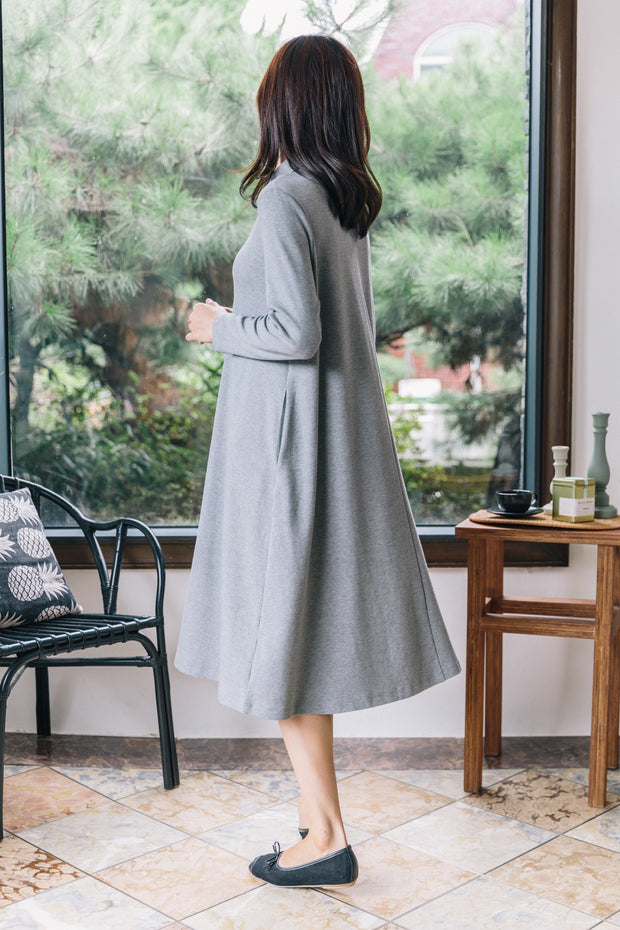 Button Flare Nursing Dress