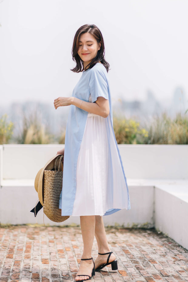 Side Pleated Nursing Dress