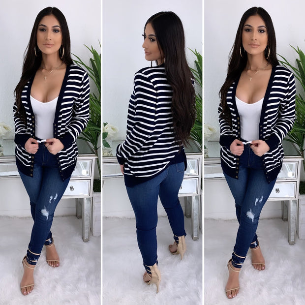 All Year Long Button Up Stripe Cardigan (Navy)