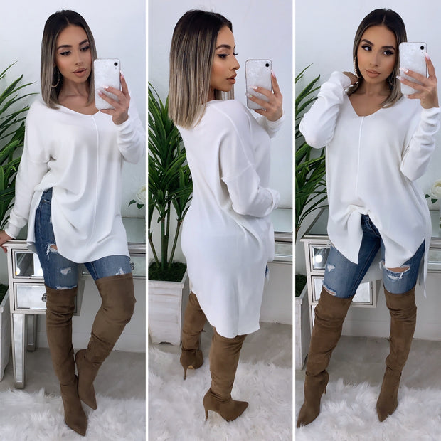 So Touchy Oversize V-Neck Sweater (Ivory)
