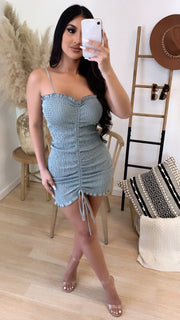 Positano Scrunched Dress (Dusty Sage)