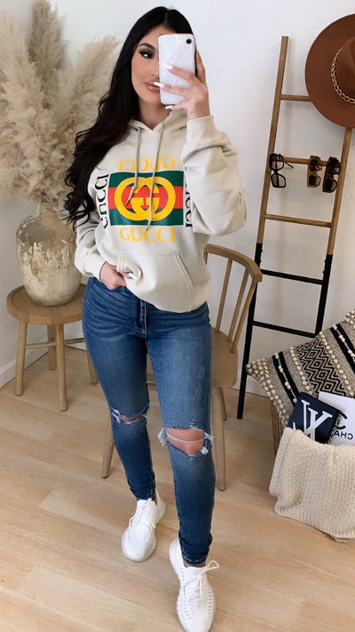 Gucci New Square Logo Over Size Hooded Sweater (Cream)