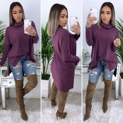 Tara Turtleneck Top (Deep Purple)
