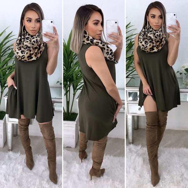 Farrah Tunic Dress/Top (Olive)