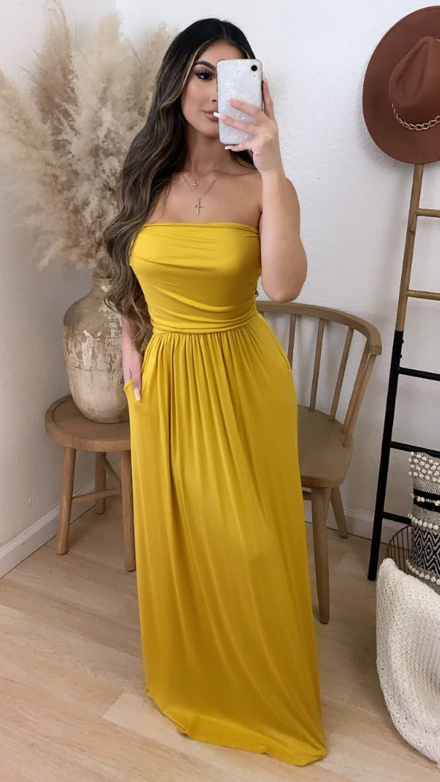 Santa Monica Maxi Dress w/ Pockets (Mustard)