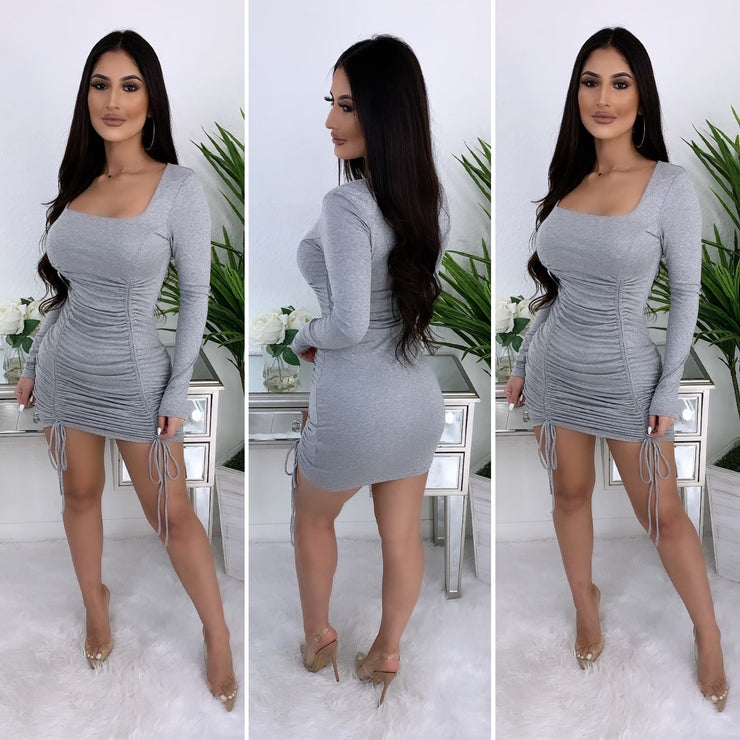 Overnight Fame Couture Midi Dress (H. Grey)