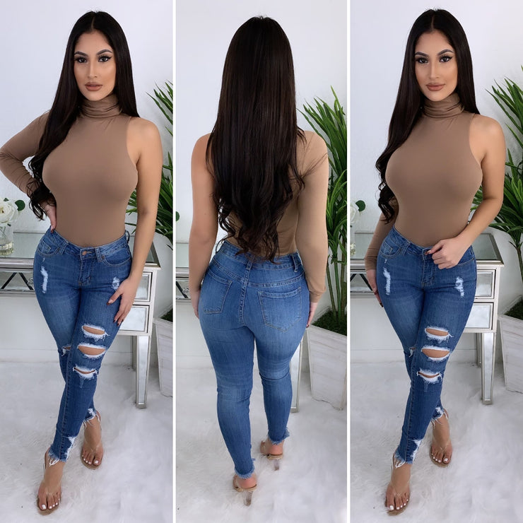 Always Doing Me One Sided Sleeve Bodysuit (Taupe)