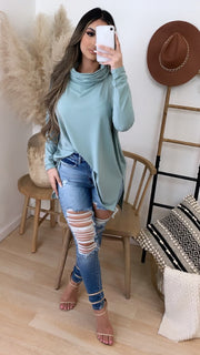 Tara Turtleneck Top (Cement Blue)