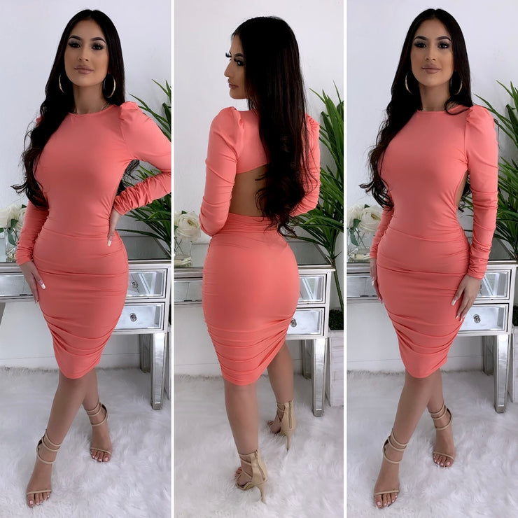 Dinner and Drinks Midi Dress (Coral)