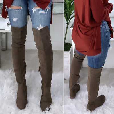 DownTown Over The Knee Suede Boots (Taupe)