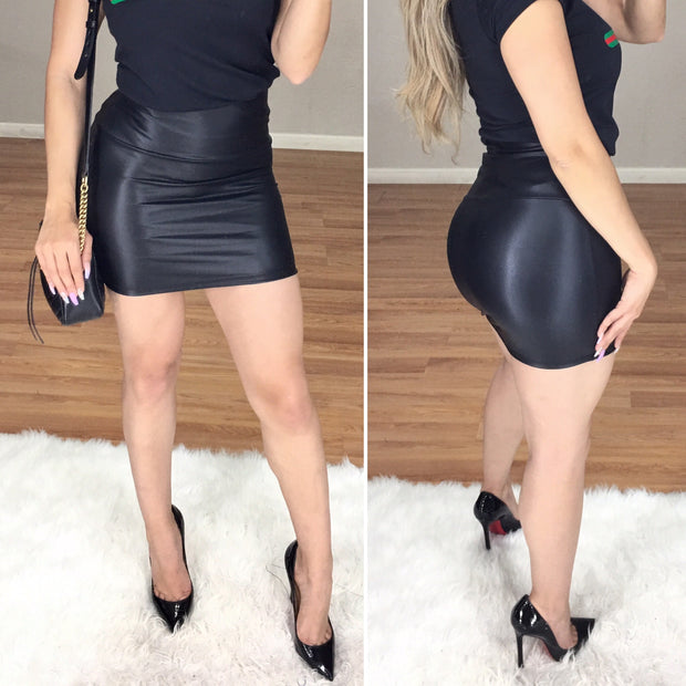 Girls Night Faux Leather High Waist Mini Skirt (Black)