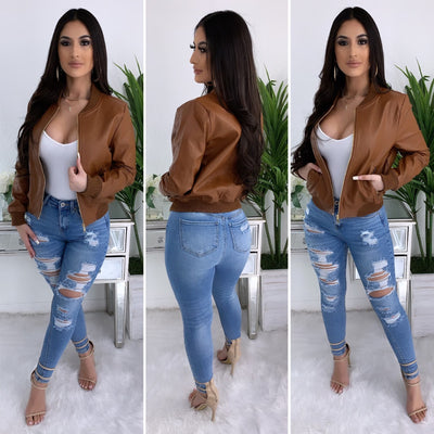 Hold Me Close Faux Leather Jacket (Camel)