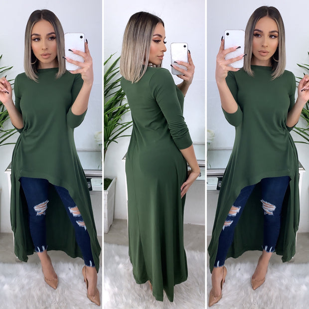 Hooked On It Hi-Low Top/Dress (Olive)