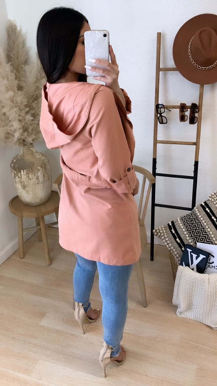 Aliza Light Weight Cargo Jacket (D. Peach)