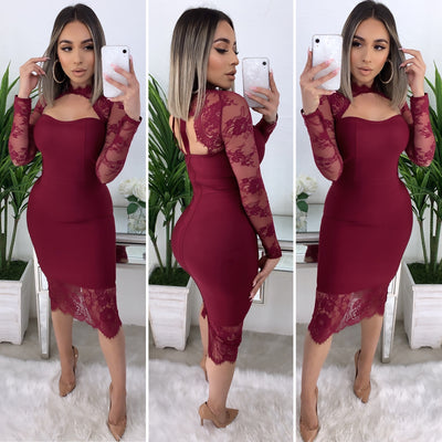 High Maintenance Bandage Midi Dress (Burgundy)