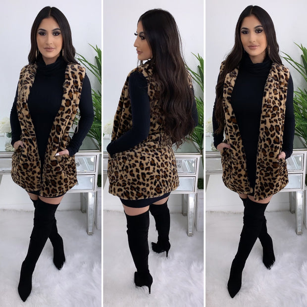 Coming Fur You Leopard Vest (Taupe)