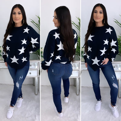 Star Knit Sweater (Navy)