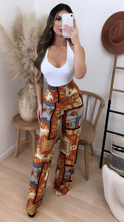 Call It A Day High Waist Palazzo Pants (Rust)