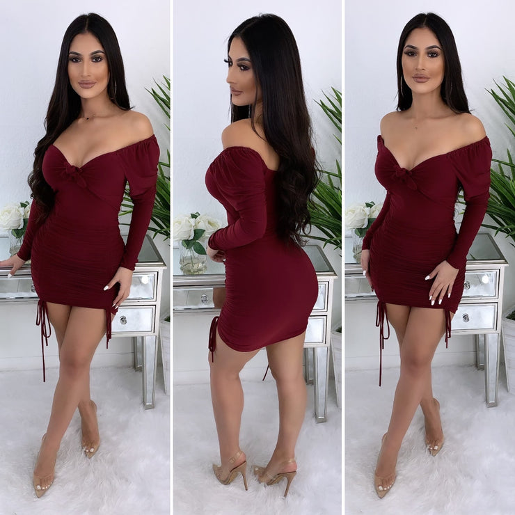 Sexy Obsession Dress (Burgundy)