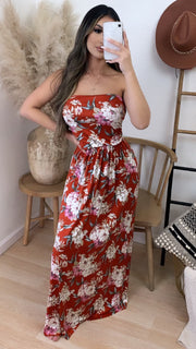 Rustica Floral Strapless Maxi Dress