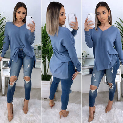 So Touchy Oversize V-Neck Sweater (Blue)