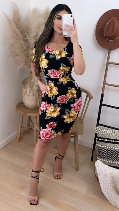 Dianna Floral Midi Dress w/ Pockets (Black)