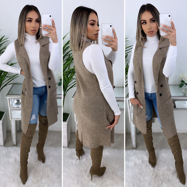 Over The Top Couture Vest  (Tan)