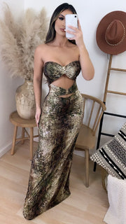 Leyna Exotic Strapless Maxi Dress
