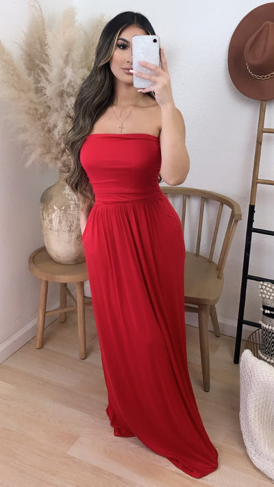 Santa Monica Maxi Dress w/ Pockets (Red)