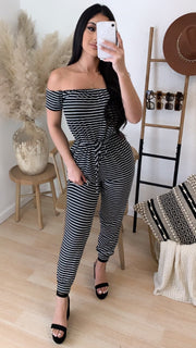Janice Stripe Off The Shoulder Jumper