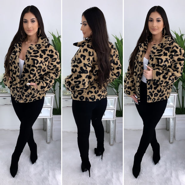 Leopard Teddy Jacket (Taupe)