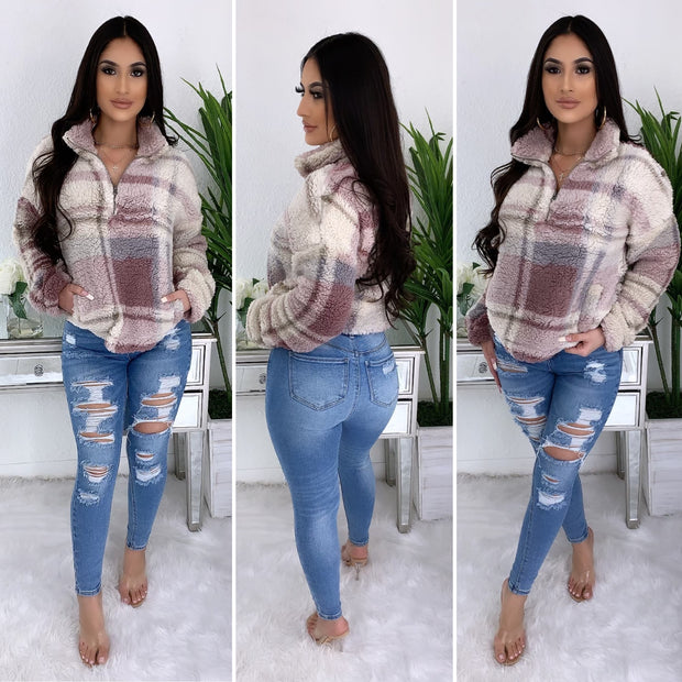 Plaid Plush Pull Over Sweater