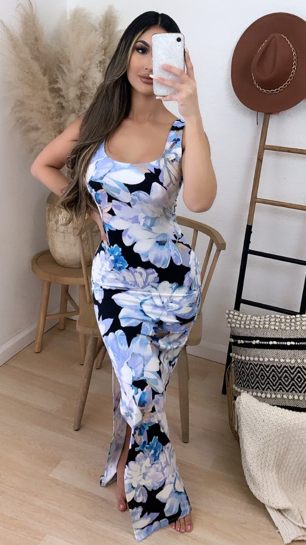St. Barts Maxi Dress (Black/Blue)