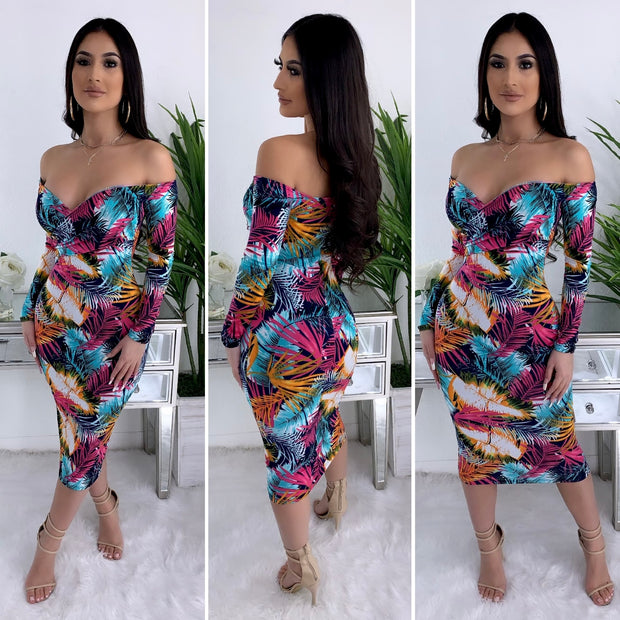 Tropical Oasis Midi Dress