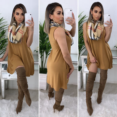Farrah Tunic Dress/Top (Dark Mustard)