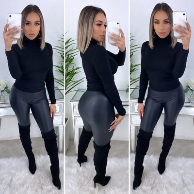 Halo Turtleneck Top (Black)