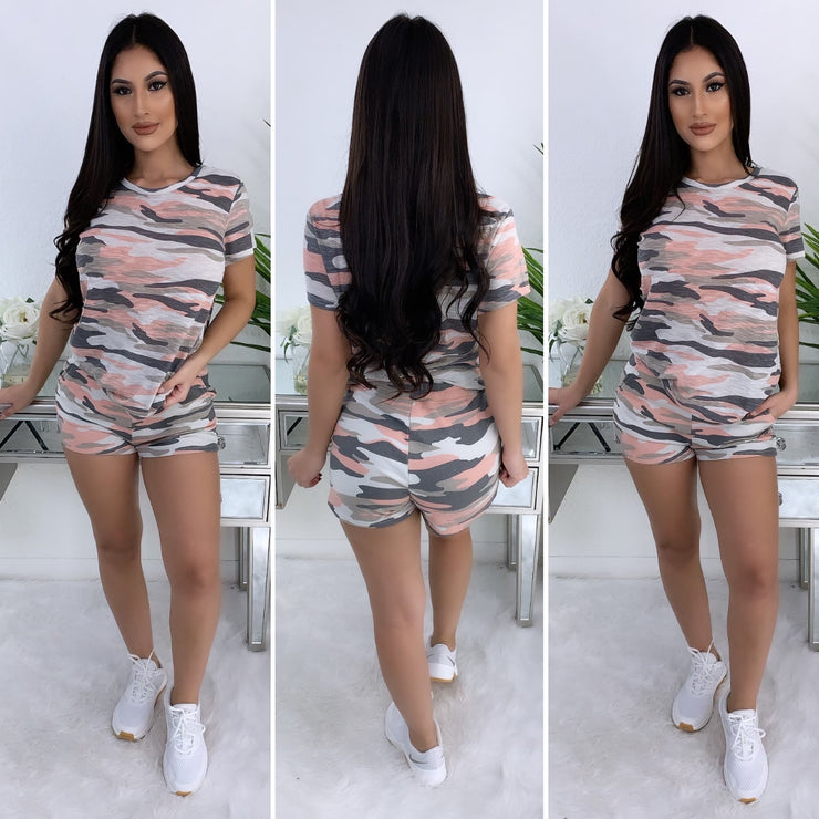 Lounging Camo 2PC Set (Coral/Grey)