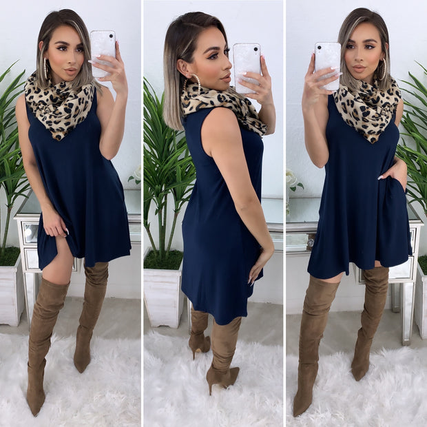 Farrah Tunic Dress/Top (Navy)