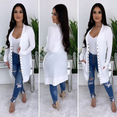 All Year Long Button Up Cardigan (Ivory White)