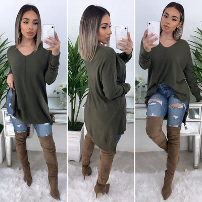 So Touchy Oversize V-Neck Sweater (Olive)