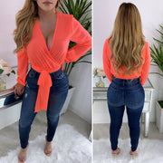 Arlene Wrap Top (Neon Orange)