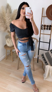 Hard To Admit Wrap Crop Top (Charcoal Black)