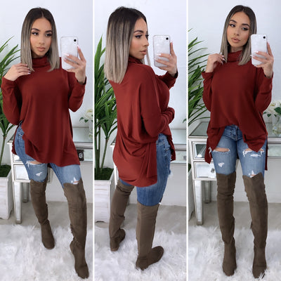 Tara Turtleneck Top (Brick)